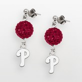 Logoart LogoArt Philadelphia Phillies Sterling Silver Crystal Logo Linear Drop Earrings
