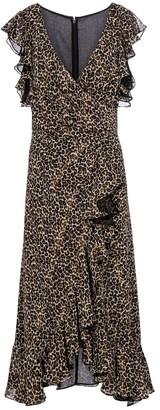 Costarellos Jolecia leopard-print chiffon wrap dress