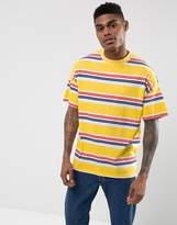 Asos Oversized Stripe T-shirt In Yellow