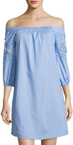 Neiman Marcus Off-The-Shoulder Lace-Trim Dress, Blue