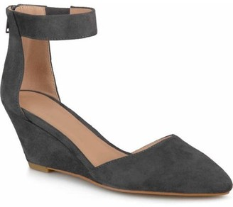 Brinley Co. Womens Pointed Toe Faux Suede Classic Ankle Strap Wedges