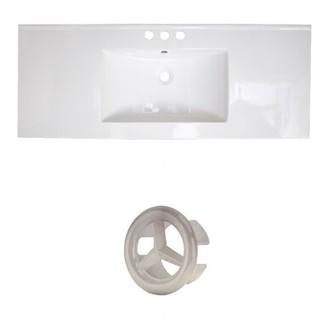 "Latshaw Ceramic 48"" Single Bathroom Vanity Top Alcott Hill Faucet Mount: 4"" Centers, Overflow Cap Color: Black"
