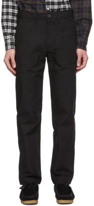 Naked and Famous Denim Black Canvas Work Trousers