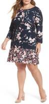 Eliza J Plus Size Women's Print Jersey Ruffle Hem Sheath Dress