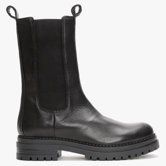 Daniel Izzie Black Leather Elongated Chelsea Boots