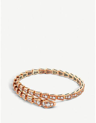 Bvlgari Serpenti 18kt rose-gold and diamond pave bracelet