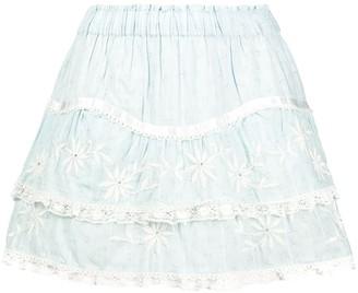 LoveShackFancy Tully embroidered mini skirt