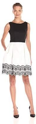 Taylor Dresses Women's Embroidered Hem Fit and Flare Dress Keyhole Back