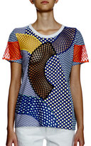 Stella McCartney Short-Sleeve Multi-Print T-Shirt W/Mesh Inset, Cobalt