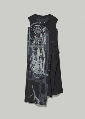Yohji Yamamoto Women's Furashi Long Printed Dress With Side Panel in Black Size 2
