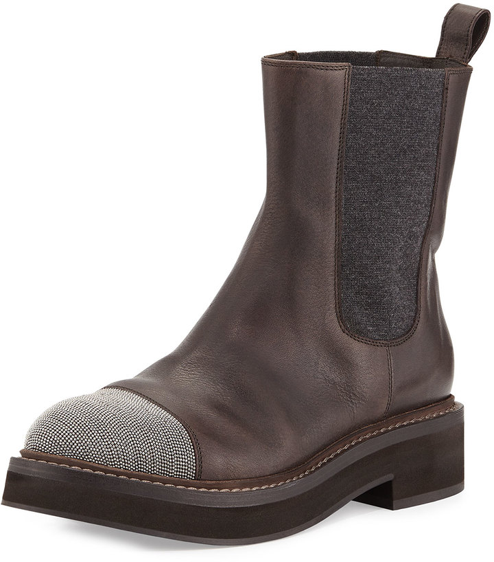 Brunello Cucinelli Monili-Toe Stretch-Inset Ankle Boot