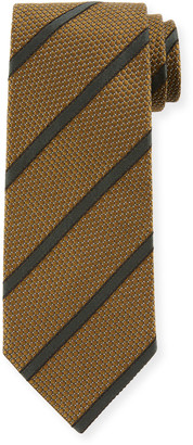 Tom Ford Striped 8cm Silk-Cotton Tie, Green