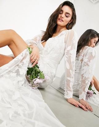ASOS EDITION Gayle blouson sleeve embroidered applique wedding dress