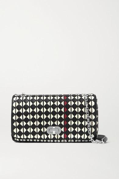 SERAPIAN Woven Leather Shoulder Bag - Black