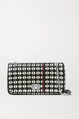 SERAPIAN Woven Leather Shoulder Bag - Black