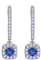 Jewel Zone US Round Cut Simulated Blue Sapphire & White CZ Hoop Earring In 14K Solid Gold (1 Ct)