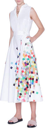 Akris Punto Sleeveless Pixel-Print Poplin Shirtdress