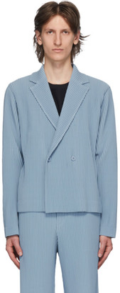 Homme Plissé Issey Miyake Blue Tailored Pleats 2 Double-Breasted Blazer