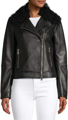 HUGO Fur-Trim Lamb Leather Jacket