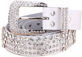 Surker Ladies Fashion Studded Western Rhinestone Bling Cowgirl Leather Belt BT00010H