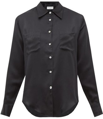 Officine Generale Carine Silk-satin Shirt - Black