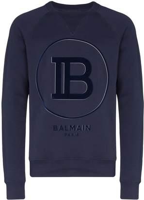 Balmain flocked-logo sweatshirt