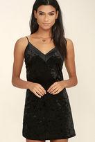 LuLu*s Velvet Portrait Black Bodycon Dress