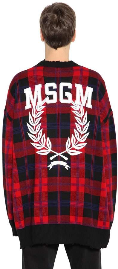MSGM Printed Distressed Wool Blend Cardigan