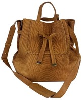 Kooba Tan Leather Snakeskin Textured Bucket Bag