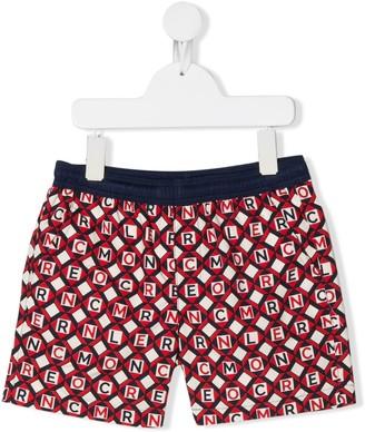 Moncler Enfant Jumbled-Logo Swim Shorts