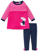 Little Me Baby Girls Two-Piece Striped Sweater and Polka Dot Leggings Set