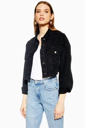 Topshop Womens Washed Black Hacked Off Denim Cropped Jacket - Washed Black