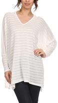 Gray & White Stripe Split-Hem Hooded V-Neck Top