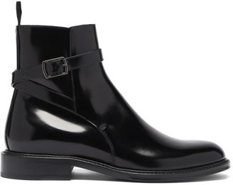 Saint Laurent Wraparound-strap Leather Ankle Boots - Black