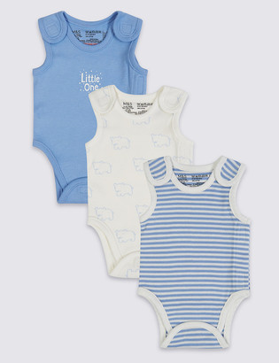 Marks and Spencer Adaptive 3 Pack Pure Cotton Premature Bodysuits (3lbs-4lbs)