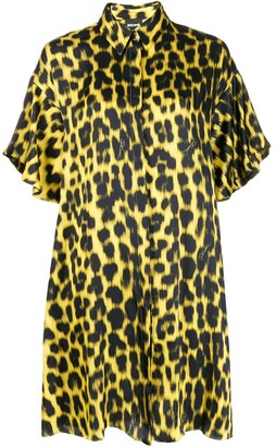 Just Cavalli leopard-print satin shirt dress