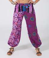 Aller Simplement Purple & Black Circular Harem Pants