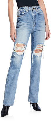 KHAITE Danielle High-Rise Distressed Stovepipe Jeans