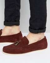 Asos Loafers In Burgundy Suede With Tassel Detail