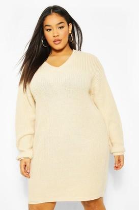 boohoo Plus Rib V Neck Jumper Dress