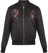 Alexander Mcqueen Embroidered Silk-satin Bomber Jacket