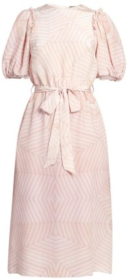 Simone Rocha Bell Sleeve Belted Print Silk Dress