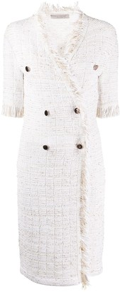 D-Exterior Tweed Double-Breasted Dress