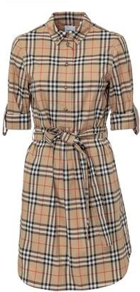Burberry Vintage Check Tie-Waist Shirt Dress