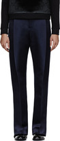 Christopher Kane Navy Double Tuck Silk-Satin Trouser