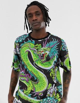 Dragon Optical Asos Design ASOS DESIGN oversized t-shirt with all over print-Black