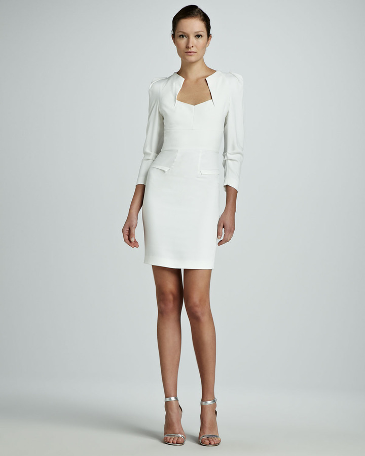 Roland Mouret Limited Edition Helena Origami Long-Sleeve Dress, White