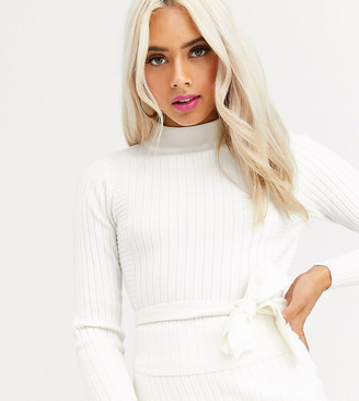 Asos DESIGN Petite rib co-ord jumper with cross back detail-White