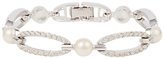 Susan Caplan Vintage 1980s Nina Ricci Silver Plated Faux Pearl and Swarovski Crystal Bracelet, Silver