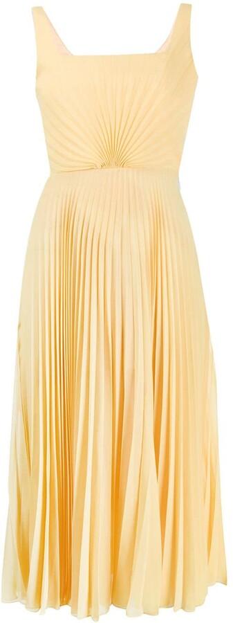 Marco De Vincenzo Silk Pleated Flared Midi Dress